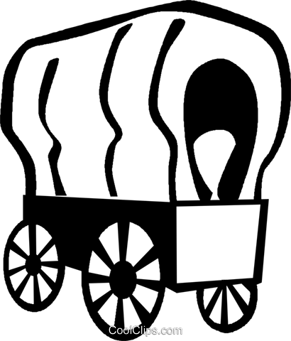 covered wagons Royalty Free Vector Clip Art illustration vc027361