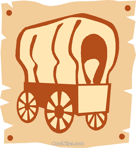 covered wagons Royalty Free Vector Clip Art illustration vc027371