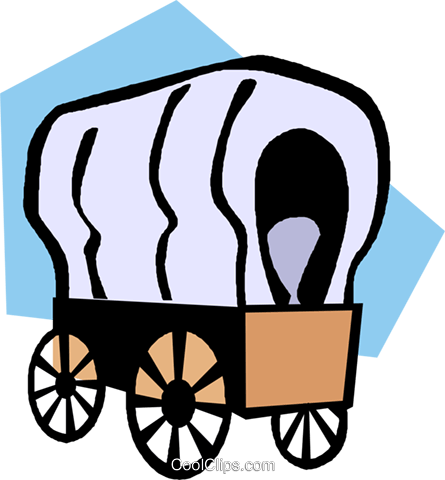 covered wagons Royalty Free Vector Clip Art illustration vc027375