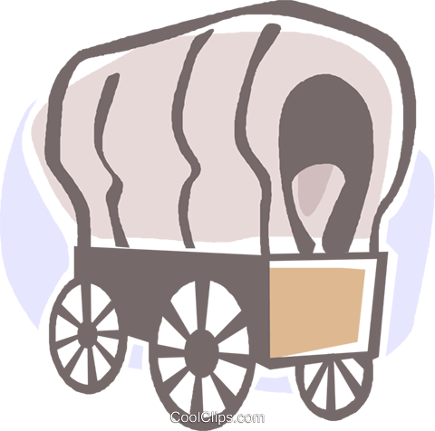 covered wagons Royalty Free Vector Clip Art illustration vc027379
