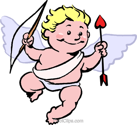 Cupid with bow and arrow Royalty Free Vector Clip Art illustration vc027384
