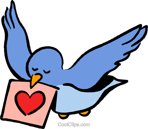 bird with valentines day card Royalty Free Vector Clip Art illustration vc027385