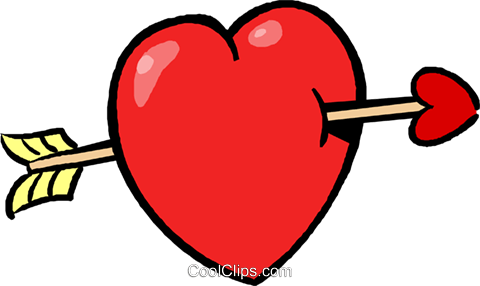 valentines day heart and arrow Royalty Free Vector Clip Art illustration vc027388