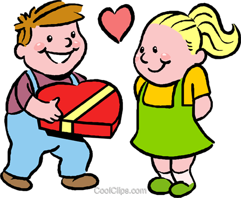 boy giving girl box of chocolates Royalty Free Vector Clip Art illustration vc027389