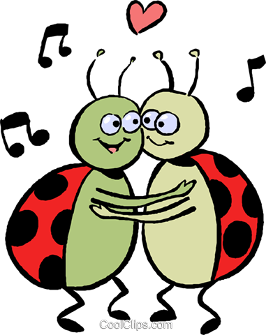 Lady bugs in love Royalty Free Vector Clip Art illustration vc027391