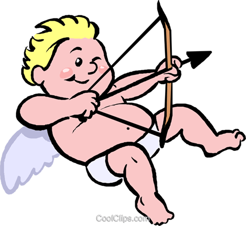 cupid with a bow and arrow Royalty Free Vector Clip Art illustration vc027393