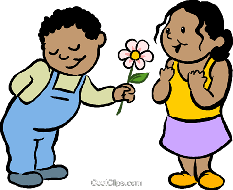 little boy giving a girl a flower Royalty Free Vector Clip Art illustration vc027397