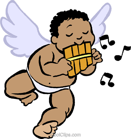 cupid playing a flute Royalty Free Vector Clip Art illustration vc027402