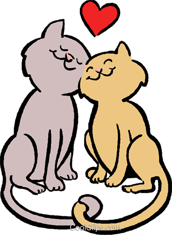 cats in love Royalty Free Vector Clip Art illustration vc027403
