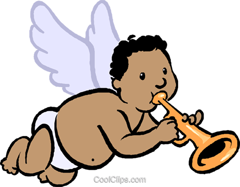 cupid playing a trumpet Royalty Free Vector Clip Art illustration vc027407