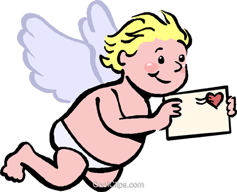 cupid with a love letter Royalty Free Vector Clip Art illustration vc027408