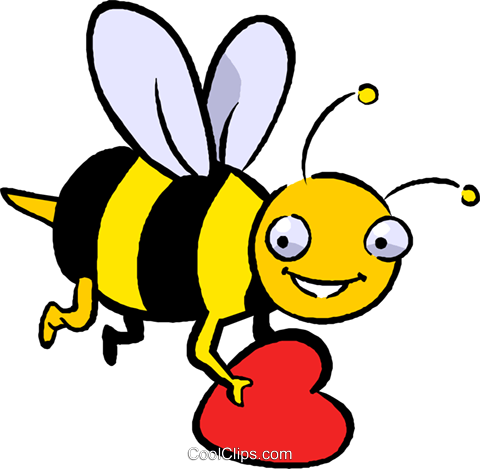 bumblebee with a heart Royalty Free Vector Clip Art illustration vc027410