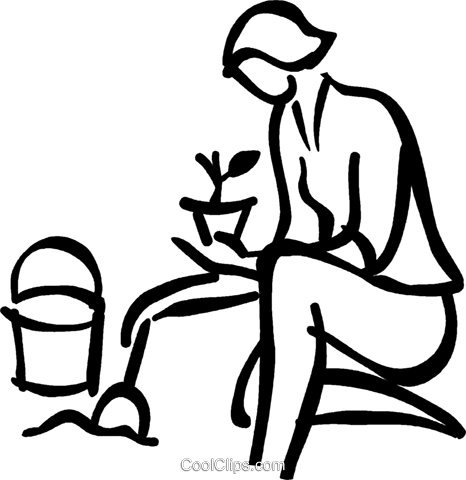woman planting Royalty Free Vector Clip Art illustration vc027585