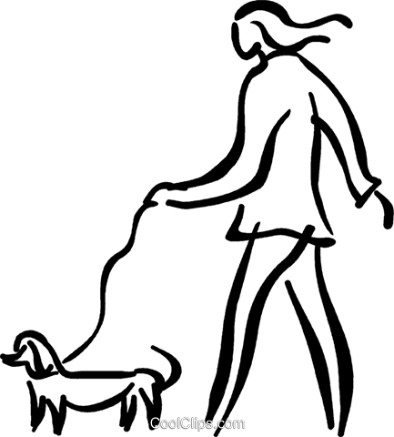 person walking the dog Royalty Free Vector Clip Art illustration vc027588