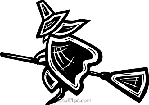 witch on a broom Royalty Free Vector Clip Art illustration vc027601