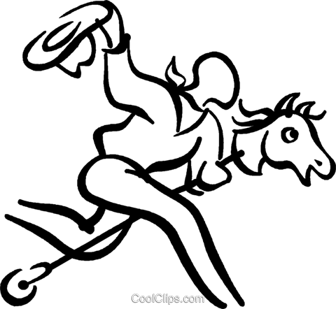 boy riding a hobby horse Royalty Free Vector Clip Art illustration vc027681