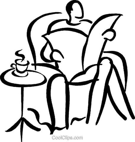 man reading the newspaper Royalty Free Vector Clip Art illustration vc027682