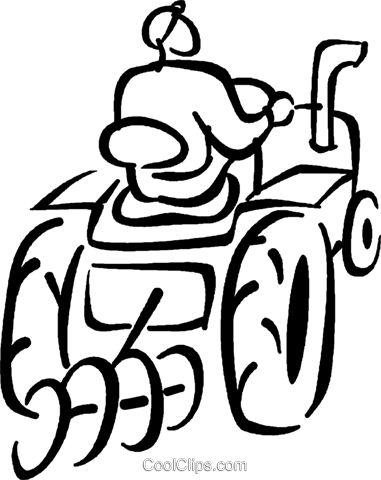 farmer on a tractor Royalty Free Vector Clip Art illustration vc027684