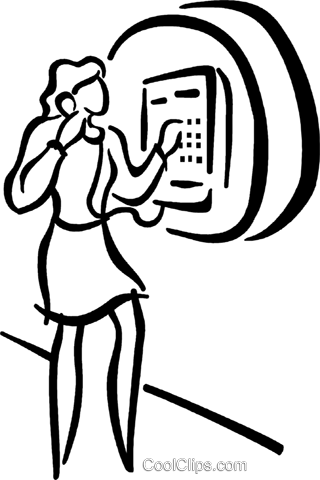 woman talking on pay phone Royalty Free Vector Clip Art illustration vc027692