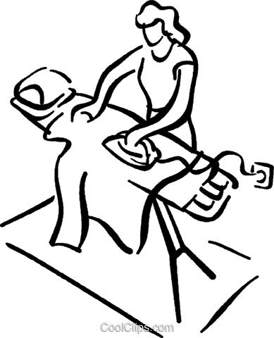 woman ironing Royalty Free Vector Clip Art illustration vc027695