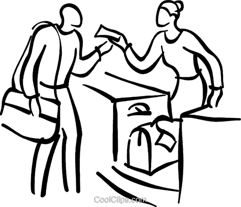 person checking the luggage Royalty Free Vector Clip Art illustration vc027699