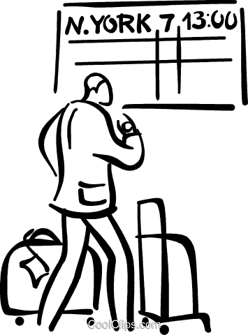 person waiting at the airport Royalty Free Vector Clip Art illustration vc027700