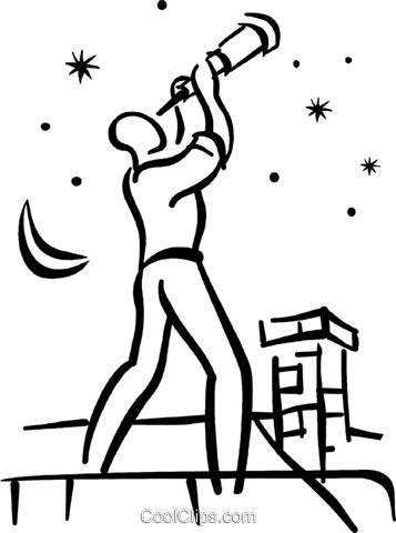 man looking through telescope Royalty Free Vector Clip Art illustration vc027702