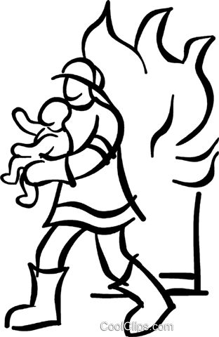fireman saving a baby Royalty Free Vector Clip Art illustration vc027703