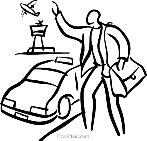 person hailing a taxi Royalty Free Vector Clip Art illustration vc027704