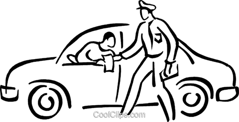 policeman giving a motorist a ticket Royalty Free Vector Clip Art illustration vc027714