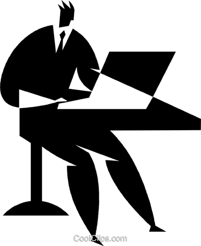 person working at a computer Royalty Free Vector Clip Art illustration vc027724