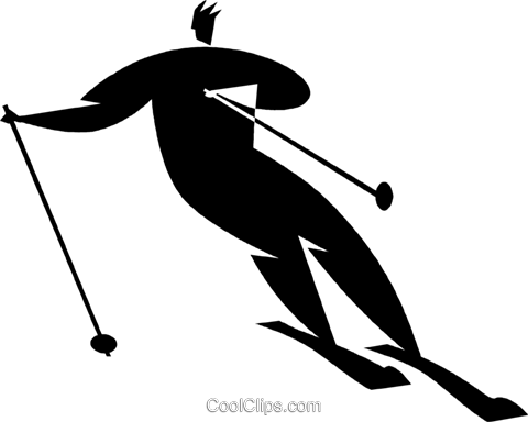 downhill skiing Royalty Free Vector Clip Art illustration vc027736