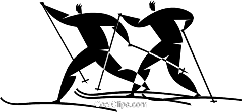 cross-country skiing Royalty Free Vector Clip Art illustration vc027740