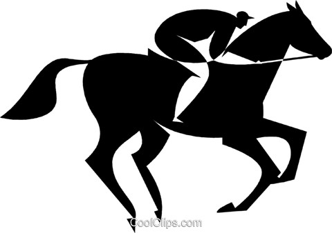 person riding a horse Royalty Free Vector Clip Art illustration vc027744