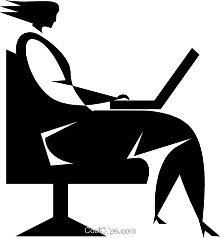 woman working on a laptop computer Royalty Free Vector Clip Art illustration vc027745
