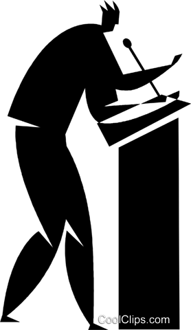 person speaking at a podium Royalty Free Vector Clip Art illustration vc027748
