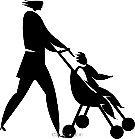 woman pushing a stroller Royalty Free Vector Clip Art illustration vc027754