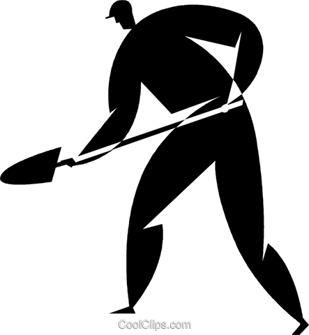person with a shovel Royalty Free Vector Clip Art illustration vc027758