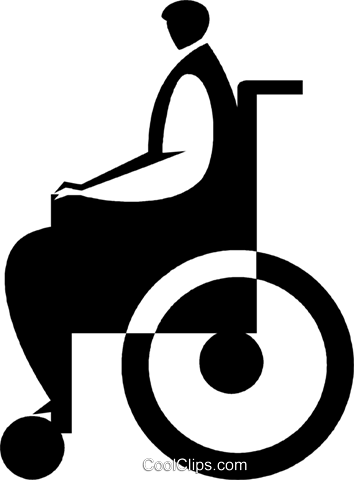 person in a wheelchair Royalty Free Vector Clip Art illustration vc027764