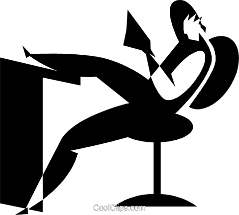 person relaxing at a desk Royalty Free Vector Clip Art illustration vc027769