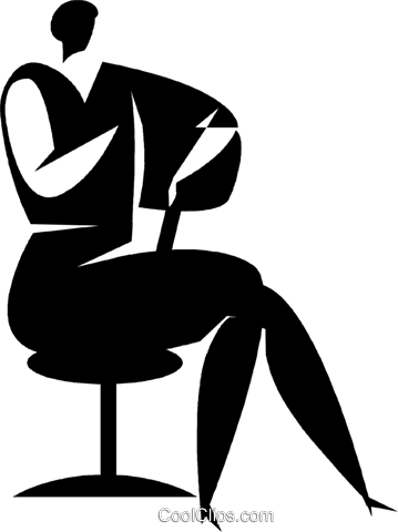 person sitting on a chair Royalty Free Vector Clip Art illustration vc027775