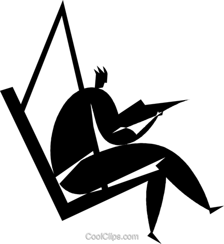 person sitting in a chair Royalty Free Vector Clip Art illustration vc027787
