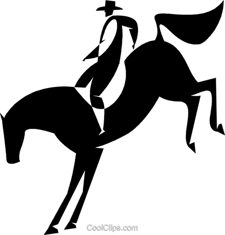 cowboy on a bucking bronco Royalty Free Vector Clip Art illustration vc027793