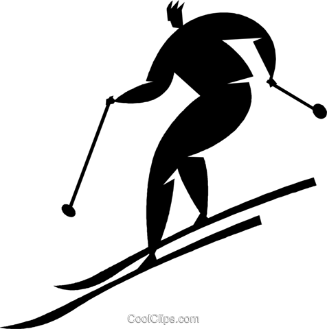 downhill skiing Royalty Free Vector Clip Art illustration vc027802