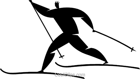 cross-country skiing Royalty Free Vector Clip Art illustration vc027805
