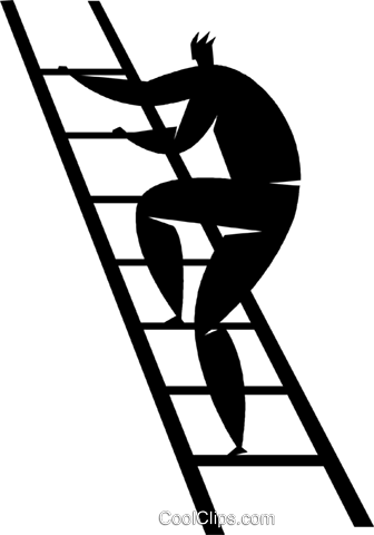 person climbing a ladder Royalty Free Vector Clip Art illustration vc027844
