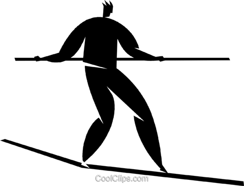 person on a tightrope Royalty Free Vector Clip Art illustration vc027847