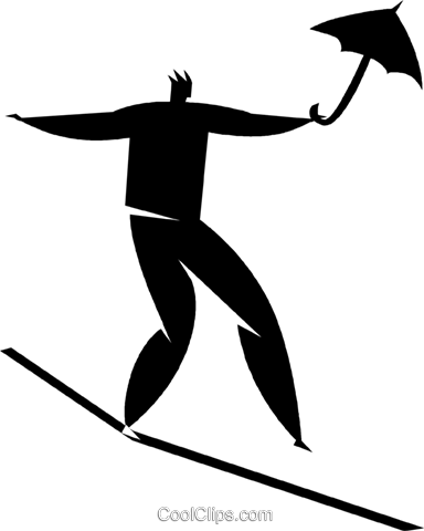 person on a tightrope with an umbrella Royalty Free Vector Clip Art illustration vc027848