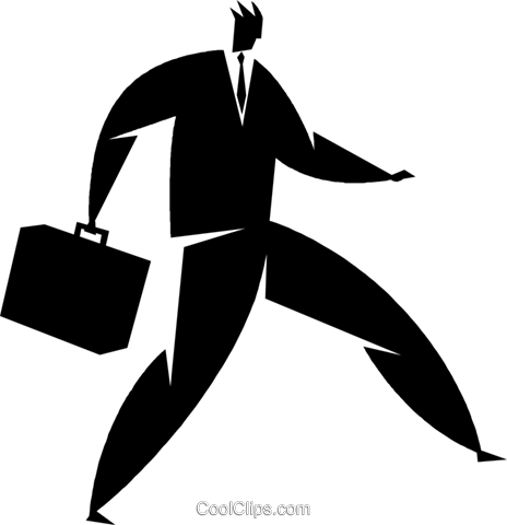 businessman with a briefcase Royalty Free Vector Clip Art illustration vc027871