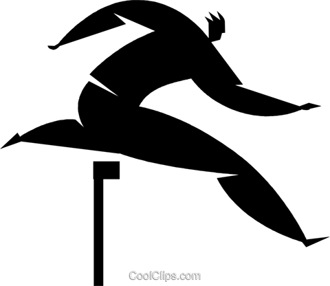 person jumping over hurdles Royalty Free Vector Clip Art illustration vc027874